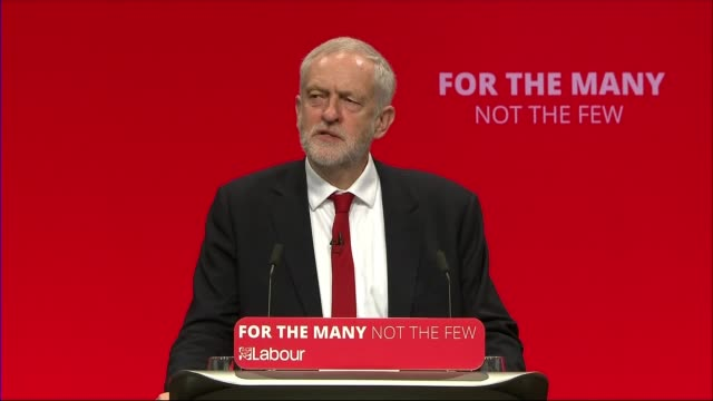 Jeremy Corbyn keynote speech ENGLAND East Sussex Brighton INT Labour Leader Jeremy Corbyn MP into conference centre to applause SOT Delegates...