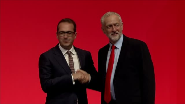 jeremy corbyn reelected as labour leader england liverpool photography** various shots of owen smith mp and jeremy corbyn mp onto stage and shaking... - owen smith politician stock videos & royalty-free footage