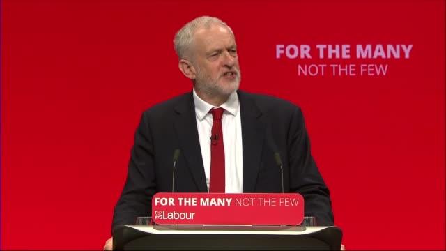 labour party conference: jeremy corbyn speech; jeremy corbyn mp speech sot - re public sector pay-cap / austerity / tuition fees / labour manifesto /... - jeremy corbyn stock videos & royalty-free footage