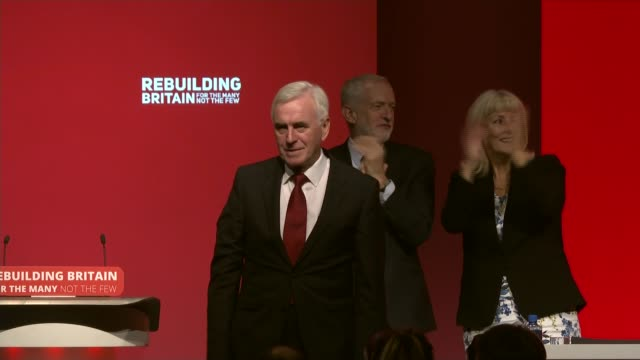 john mcdonnell speech / brexit referendum question dominates uk liverpool john mcdonnell mp and jeremy corbyn mp onstage at conference england... - channel 4 news stock videos & royalty-free footage