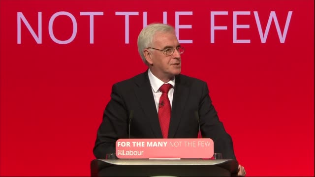 John McDonnell speech ENGLAND West Sussex Brighton INT John McDonnell MP speech SOT 2017 general election NHS