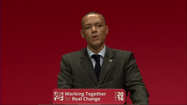 john mcdonnell speech / trident row clive lewis mp speech sot good morning conference wide shot lewis on stage clive lewis mp speech sot as you know... - 三叉槍点の映像素材/bロール