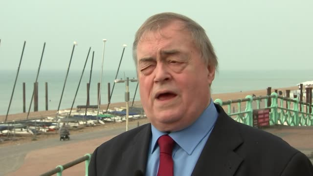 John Prescott interview ENGLAND West Sussex Brighton EXT John Prescott setup and interview re Labour Party conference election result and manifesto...