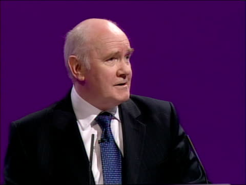 labour party conference: john reid speech; but it's the weak and the vulnerable who suffer most in an insecure world. security is a labour value,... - doing a favour stock videos & royalty-free footage