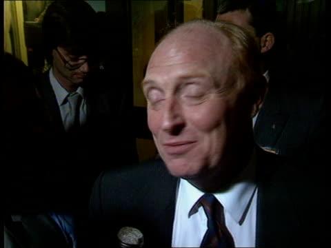 labour party conference: ken livingston; england: brighton: neil kinnock chats roy hattersley on platform, stands and walks off: ken livingstone... - roy castle点の映像素材/bロール