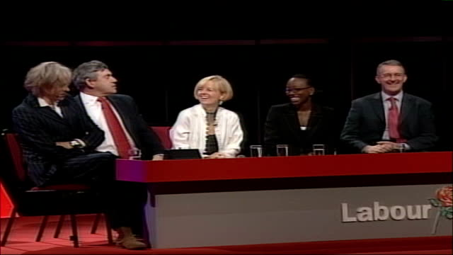 labour party conference: nhs reforms condemned; int gordon brown mp, seated on conference stage with bob geldof sot - you are my mentor and... - missionary stock videos & royalty-free footage