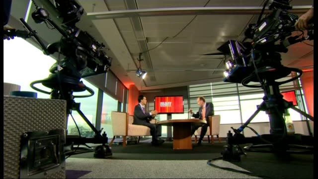opening day int ed miliband mp and andrew marr in television studio miliband speaking - andrew marr stock videos & royalty-free footage