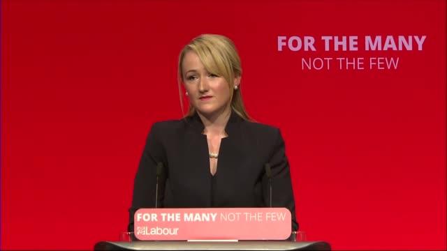 Rebecca LongBailey speech ENGLAND West Sussex Brighton INT Rebecca LongBailey MP speech SOT / CUTAWAYS Jeremy Corbyn MP / Rebecca LongBailey hugs...