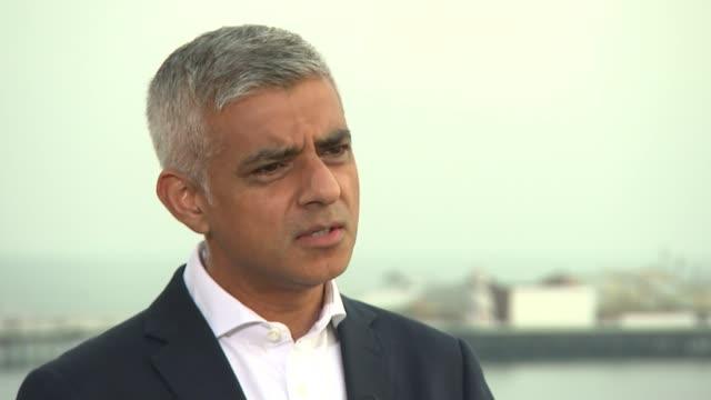 Sadiq Khan interview ENGLAND West Sussex Brighton EXT Sadiq Khan interview SOT re Labour Conference general election Brexit and Single Market Uber...