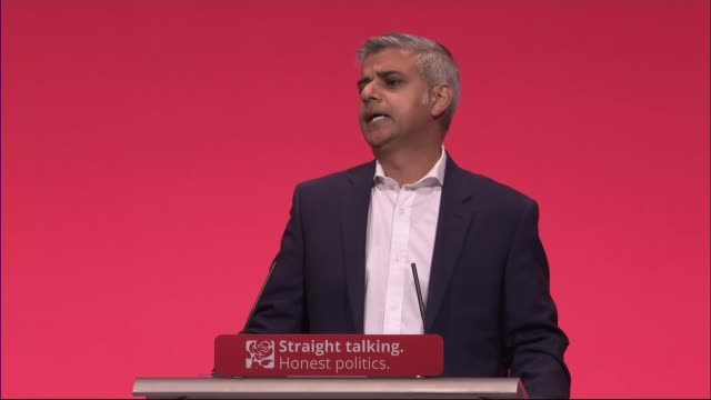 sadiq khan sets out his ideas for mayor of london england east sussex brighton int sadiq khan mp along to podium at labour conference khan at podium... - hilary benn stock-videos und b-roll-filmmaterial