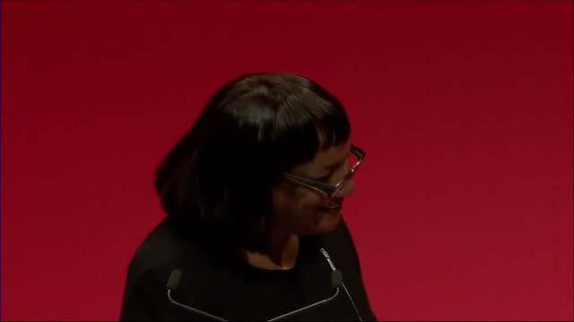 Sadiq Khan speech / party divisions ENGLAND Merseyside Liverpool INT Wide view conference with people singing Happy Boirthday to Diana Abbott SOT...