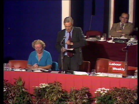 vídeos de stock, filmes e b-roll de labour party conference tony benn's speech on the nationalisiation of north sea oil england blackpool what conference is asking tbv conference ms... - tony benn