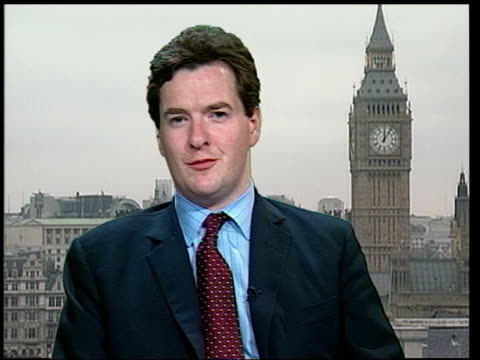 labour party conservative spending plans attacked london george osborne interview sot i've not seen these reports/ they probably come from tony blair... - george osborne stock videos & royalty-free footage