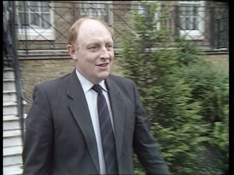 stockvideo's en b-roll-footage met stuart weir interview sot labour hq ext woman down steps out of hq man along track group of people standing on steps chatting as kinnock towards neil... - neil kinnock