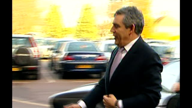 Scottlish Labour leader accepted illegal donation LIB ENGLAND London Heathrow Gordon Brown MP and Harriet Harman MP arriving by car and entering...