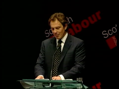 labour party election campaign; tony blair speech sot - these are distinctive solutions to scottish problems from a serious scottish party/ need... - british labour party stock videos & royalty-free footage