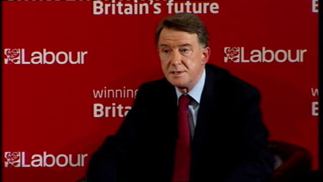 gordon brown speech to labour activists in west ham; lord mandelson response sot - when times are good in the economy, easy to spend money to bring... - recession stock videos & royalty-free footage