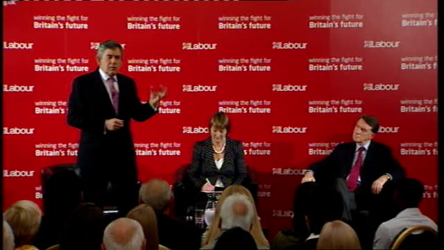 vídeos de stock, filmes e b-roll de gordon brown speech to labour activists in west ham brown speech sot there are three things over next few weeks first make sure take people through... - self discipline