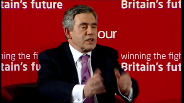 gordon brown speech to labour activists in west ham brown response sot young people we need to show that we are defending the rights of young people... - öresundsregionen bildbanksvideor och videomaterial från bakom kulisserna