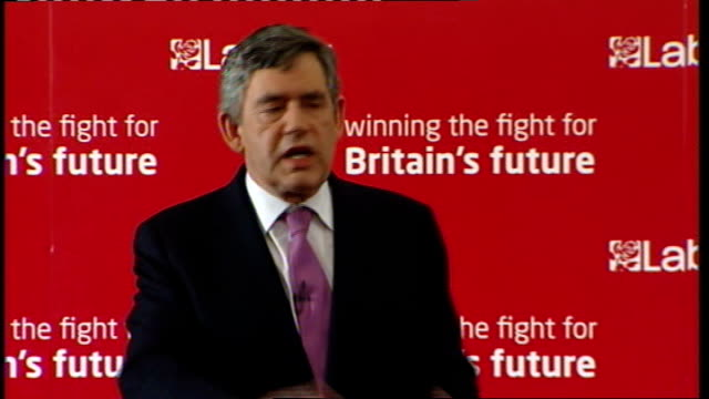 Gordon Brown speech to Labour activists in West Ham Brown speech SOT Third thing code of conduct for MPs any MP that does not abide by that code of...