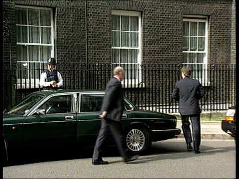 Ken Follett attack on Tony Blair ITN LIB ENGLAND London Downing Street Prime Minister Tony Blair MP from car into Number 10