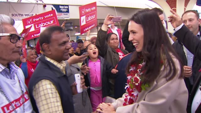 labour party leader jacinda ardern on 2017 general election campaign trail speaking at otara market in south auckland about health policy adorned... - polynesian culture stock videos & royalty-free footage