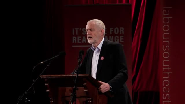 labour party leader jeremy corbyn addresses a rally in hastings, sussex. corbyn received a warm welcome from gathered labour activists. in his speech... - 2010 2019 stock videos & royalty-free footage