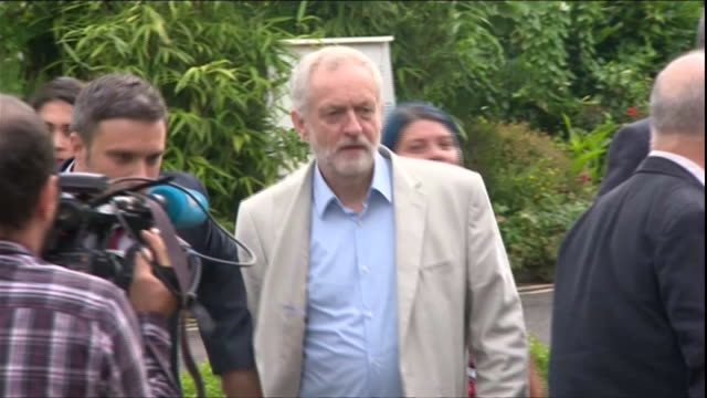 labour party leader jeremy corbyn arriving in cardiff for his first debate with leadership challenger owen smith - owen smith politician stock videos & royalty-free footage