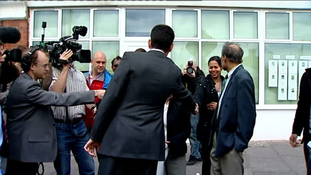 labour party leadership contest: david miliband in harrow; miliband greeting people sot / miliband explaining footballing analogy - what mr wenger... - harrow stock videos & royalty-free footage