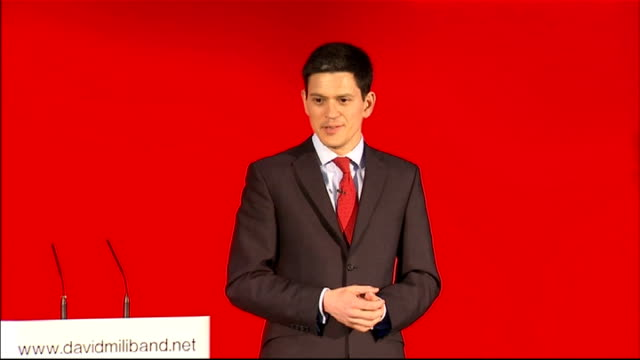 labour party leadership contest: david miliband launches official candidacy; miliband speech sot - ... i am proud of the labour party, ... excellent... - modern rock stock videos & royalty-free footage