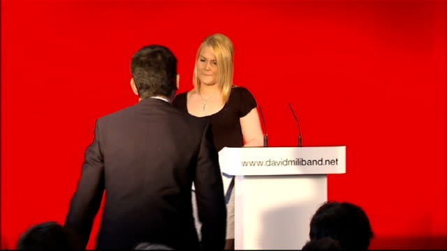 labour party leadership contest: david miliband launches official candidacy; england: tyne and wear: south shields: int young labour party supporter... - hazel eyes stock videos & royalty-free footage