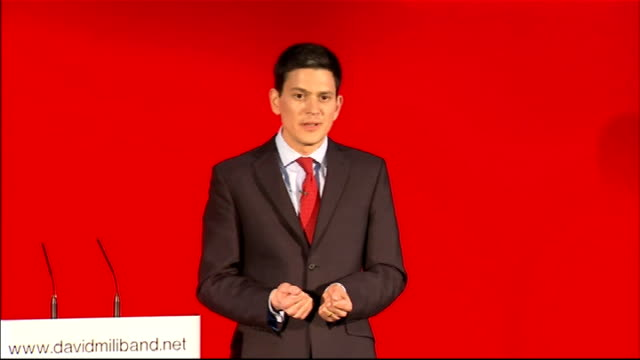 labour party leadership contest: david miliband launches official candidacy; miliband speech sot - in my adult life i've tried to turn ideas into... - 12 13 years stock videos & royalty-free footage