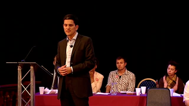 David Miliband speech David Miliband speech SOT My grandparents only knew vulnerability war danger / my parents had a childhood of vulnerability too...