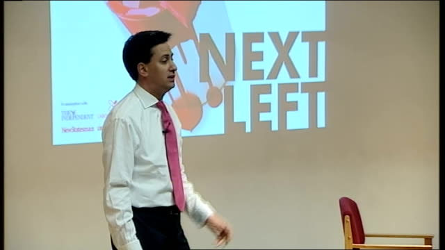 ed miliband launches bid during fabian society speech ed miliband speech sot take the issue of the banks our response to the banking crisis... - ausgefranst stock-videos und b-roll-filmmaterial