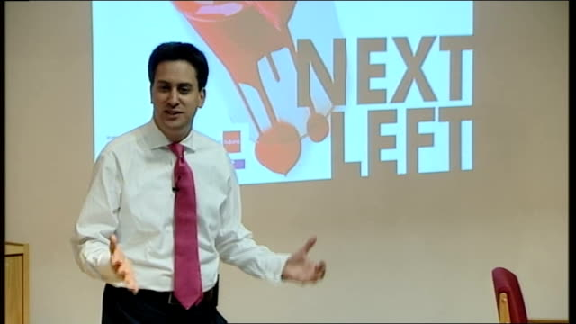 labour party leadership contest: ed miliband launches bid during fabian society speech; ed miliband speech sot - gordon and tony made huge strides... - economy class stock videos & royalty-free footage