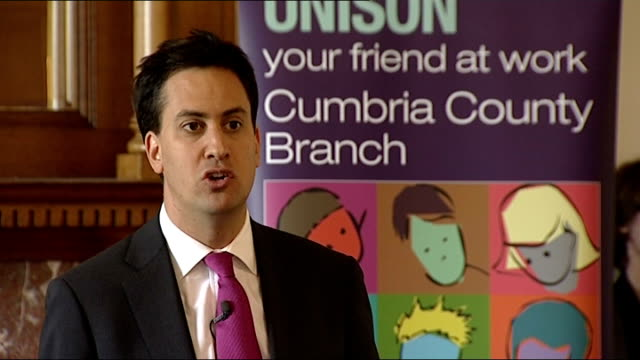 Ed Miliband speech in Carlisle Ed Miliband speech SOT Gives example of low paid workers who serve school meals and are not given sick pay and are...