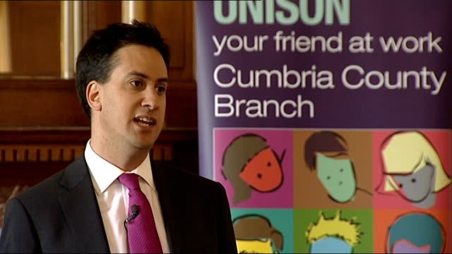 ed miliband speech in carlisle ed miliband speech sot we've got to have the courage to change in the way we create jobs as well / the jobs of the... - fee stock videos and b-roll footage