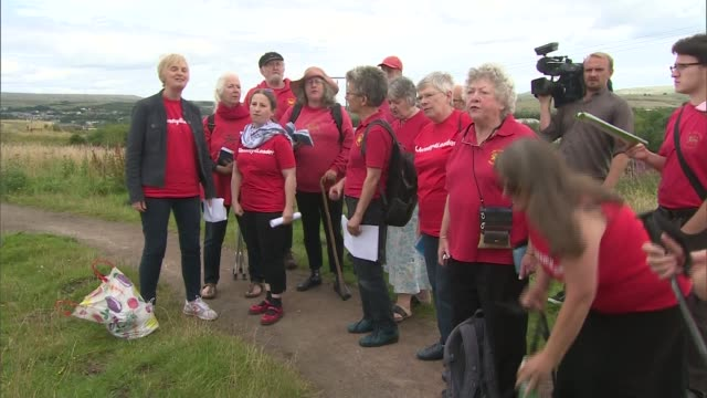 jeremy corbyn backed by entryists wales gwent near tredegar ext choir singing the red flag to welcome labour party leadership candidate jeremy corbyn... - singing contest stock videos and b-roll footage
