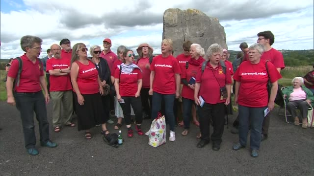 jeremy corbyn backed by entryists wales gwent near tredegar ext jeremy corbyn mp towards along to rally jeremy corbyn supporters holding banner... - singing contest stock videos and b-roll footage