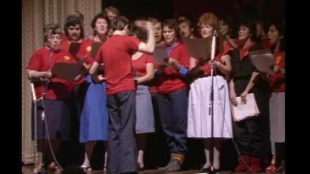 jeremy corbyn backed by entryists choir singing sot - singing contest stock videos and b-roll footage