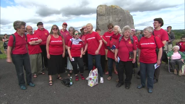 jeremy corbyn speech at aneurin bevan stones / interview supporters dressed in red 'jeremy for leader' tshirts singing 'the red flag' sot - singing contest stock videos and b-roll footage