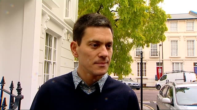 leadership david miliband doorstep england london ext david miliband mp in doorway of house as comments sot taking my son to school so no pictures... - david miliband stock videos & royalty-free footage