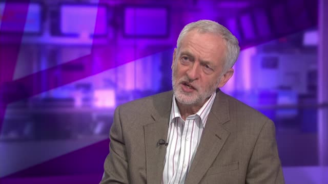 party leadership divided over conservative welfare cuts england london gir int jeremy corbyn mp studio interview sot re his views on taxation re... - hamas stock videos & royalty-free footage