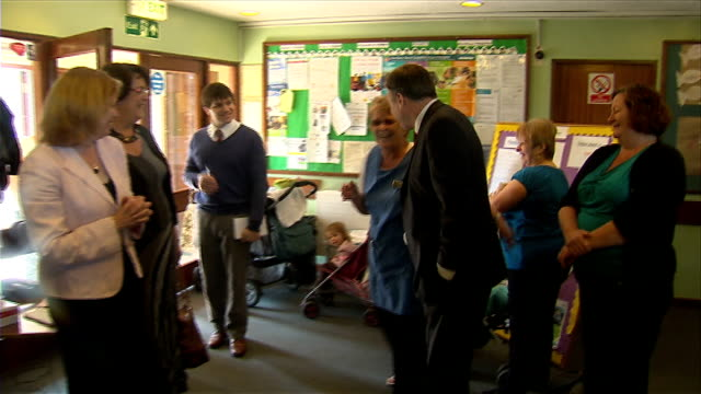 labour party leadership: ed balls join races: visit to pre-school playgroup in basildon; england: essex: basildon: ext former schools secretary and... - basildon stock-videos und b-roll-filmmaterial