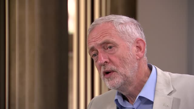 jeremy corbyn launches campaign england london int jeremy corbyn mp interview sot on whether he is incompetent as a leader / what he's trying to do /... - aggression stock videos & royalty-free footage