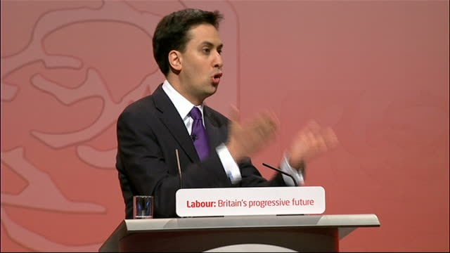announcement and ed miliband speech ed miliband speech continued sot ed your campaign has been a testmimony to your abilities every tory minister is... - エド ミリバンド点の映像素材/bロール