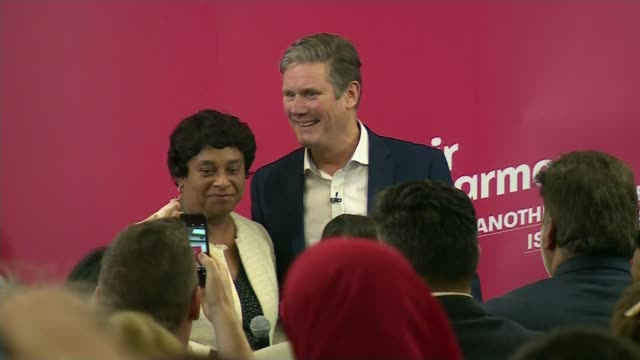 labour party leadership: sir keir starmer launches campaign; england: manchester: int keir starmer mp along into room and crowd applauds keir starmer... - keir starmer stock videos & royalty-free footage