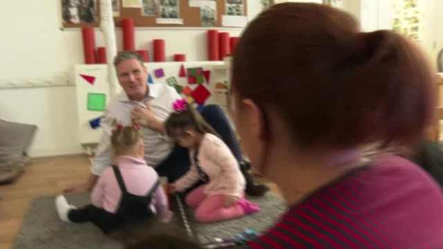 labour party leadership: sir keir starmer visits nursery in batley; england: west yorkshire: batley: foundations nursery: int sir keir starmer mp... - keir starmer stock videos & royalty-free footage
