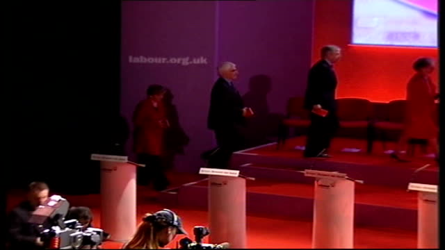 manifesto launched; england: london: int labour cabinet ministers taking places on platform for launch of 2005 general election manifesto as... - charles clarke uk politician stock videos & royalty-free footage