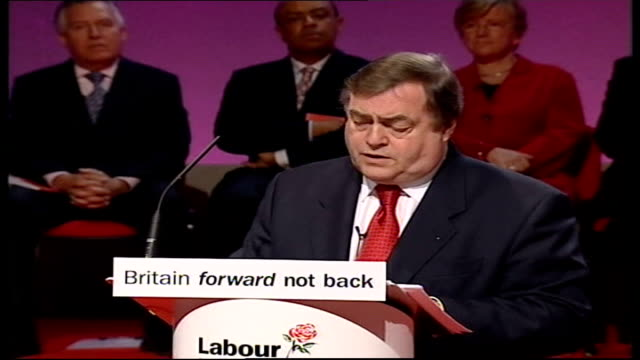 manifesto launched john prescott press conference sot because we will not go back to whole communities cities even regions carved out of national... - {{relatedsearchurl(carousel.phrase)}} stock videos & royalty-free footage
